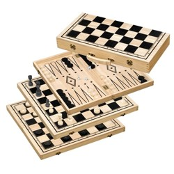Chess-Backgammon-Checkers-Set, field 50 mm
